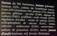 Gâteau Breton du Pays de Douarnenez Framboise - Ingrédients - fr