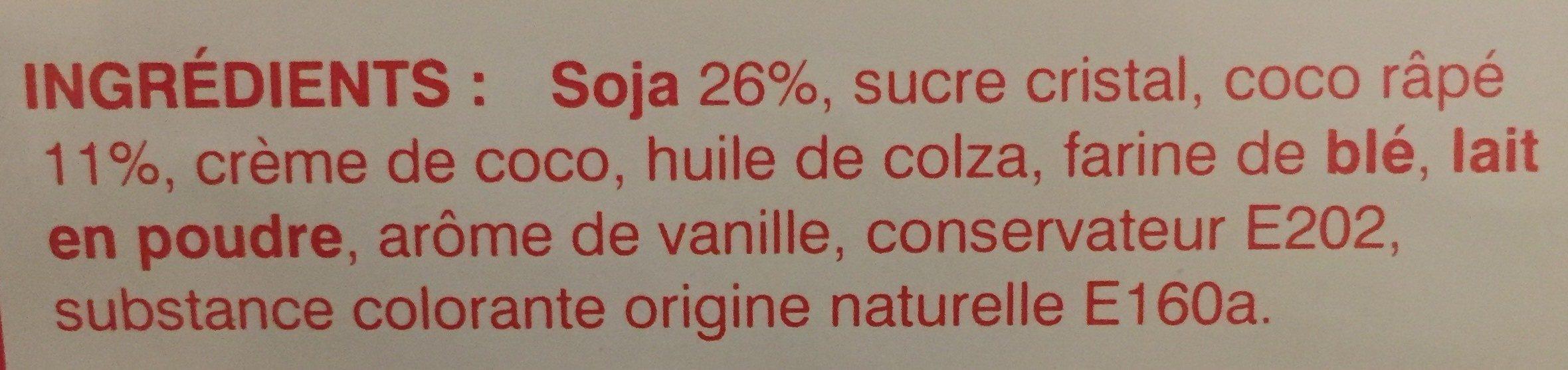 Gâteaux à la crème de soja et à la pâte de coco - Ingredients
