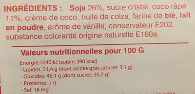 Gâteaux à la crème de soja et à la pâte de coco - Nutrition facts