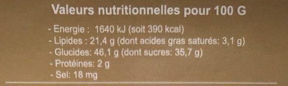 Gâteau à la crême de soja et à la pâte de banane - Informations nutritionnelles - fr