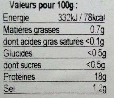 Gambas décortiquées - Nutrition facts