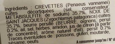 Mises en Bouche Crevettes & Petites St Jacques Beurre Persillé - Ingrédients