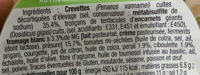 Émietté de Crevettes au Fromage Blanc & Fines Herbes - Ingredients