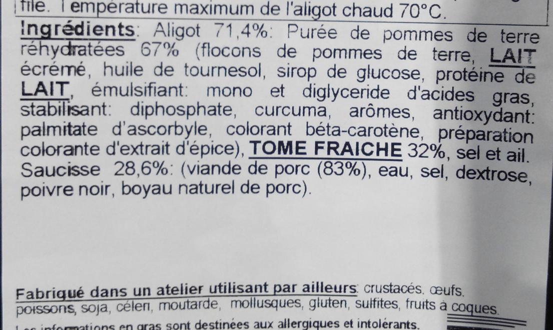 Aligot Saucisse - Ingrédients - fr