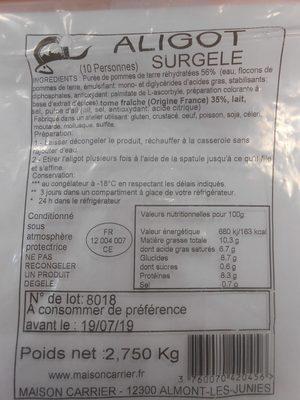 Aligot Surgelé - Produit - fr