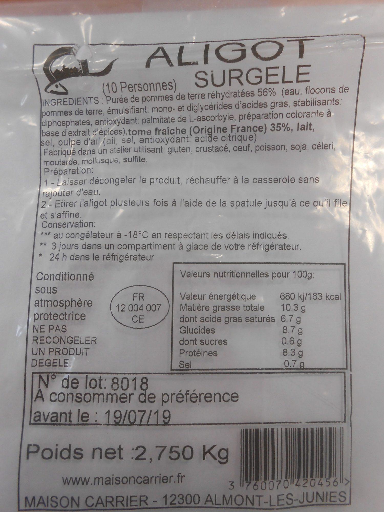 Aligot Surgelé - Produit