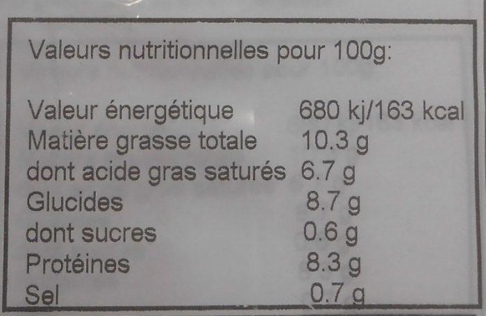 Aligot Surgelé - Informations nutritionnelles