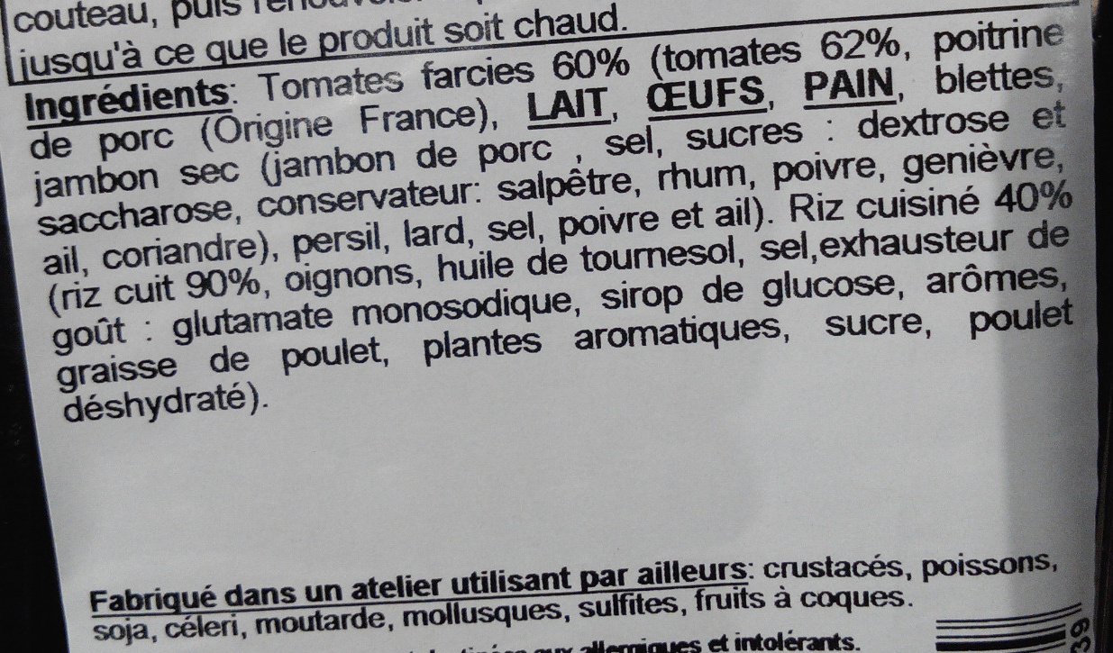 Tomates farcies - Ingrediënten - fr