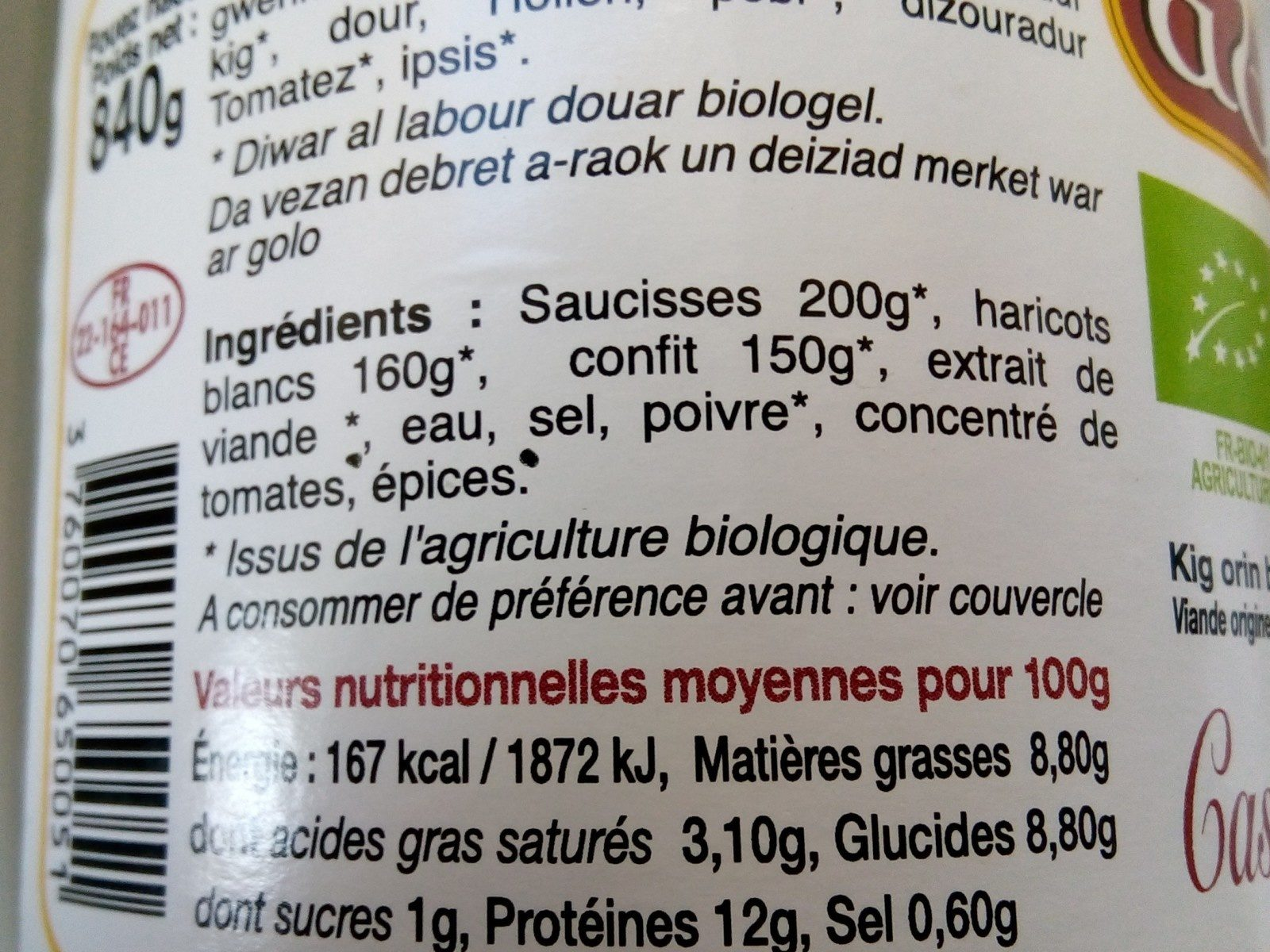 Cassoulet au confit de porc - Ingrediënten - fr