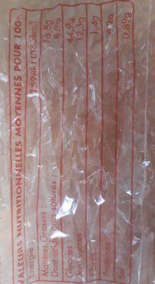 Brioche Bonnin 490 g - Informations nutritionnelles - fr