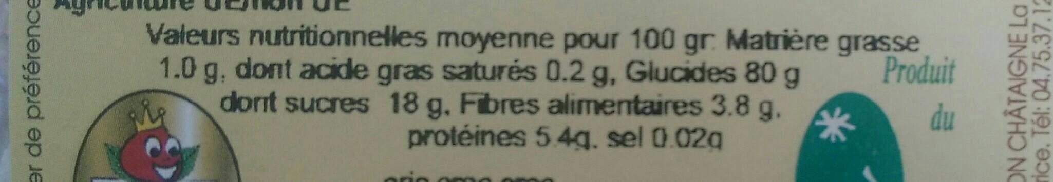 Céréales marron-chataîgnes - Nutrition facts - fr