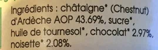 Pâte à Tartiner Châtaigne Chocolat Noisette - Ingredients