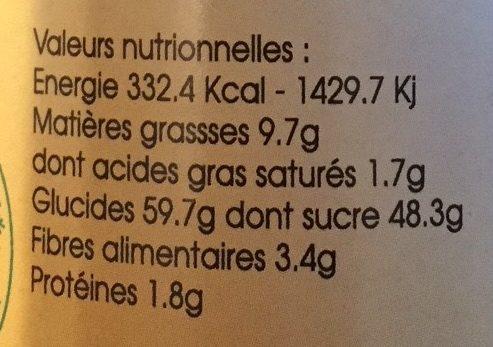 Pâte à Tartiner Châtaigne Chocolat Noisette - Nutrition facts