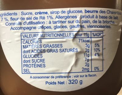 Le Caramelier - Ingredients