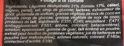 Préparation soluble pour Potage Tomate - Ingredients