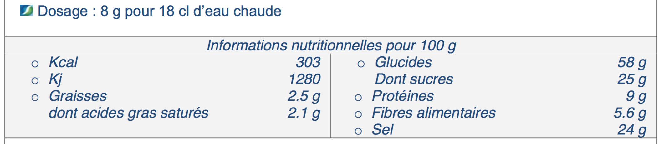 Préparation instantanée pour Potage Provençal - Nutrition facts