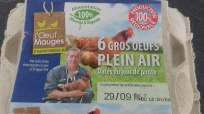 6 Gros oeufs frais de plein air dates du jour de ponte - Product - fr