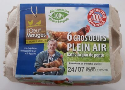 6 Gros oeufs frais de plein air dates du jour de ponte - Ingrediënten - fr