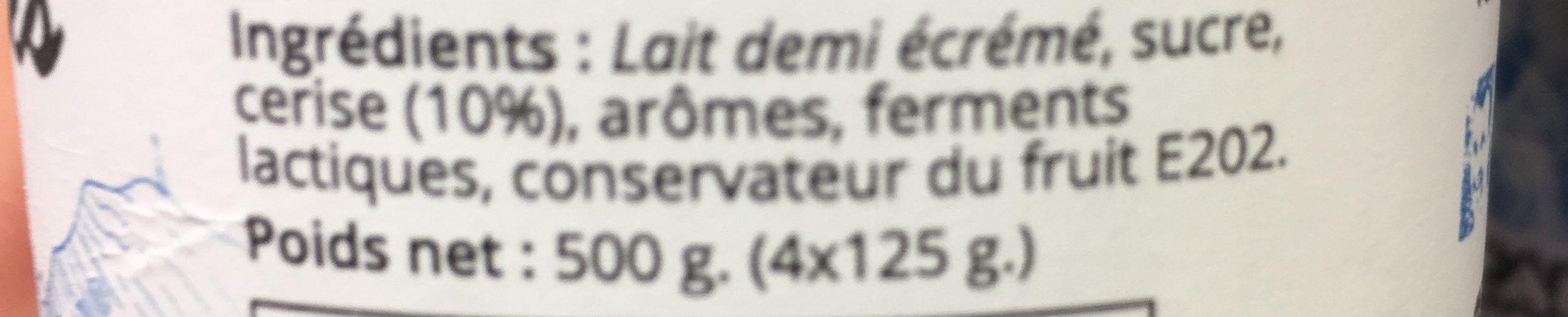 Yaourt cerise - Ingrédients - fr
