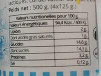 Yaourt cerise - Informations nutritionnelles - fr