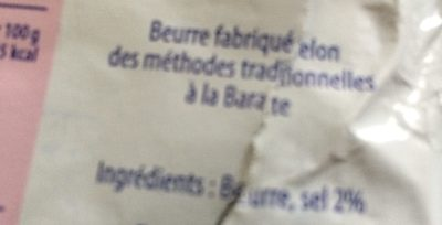 Beurre de baratte demi-sel - Ingredients - fr