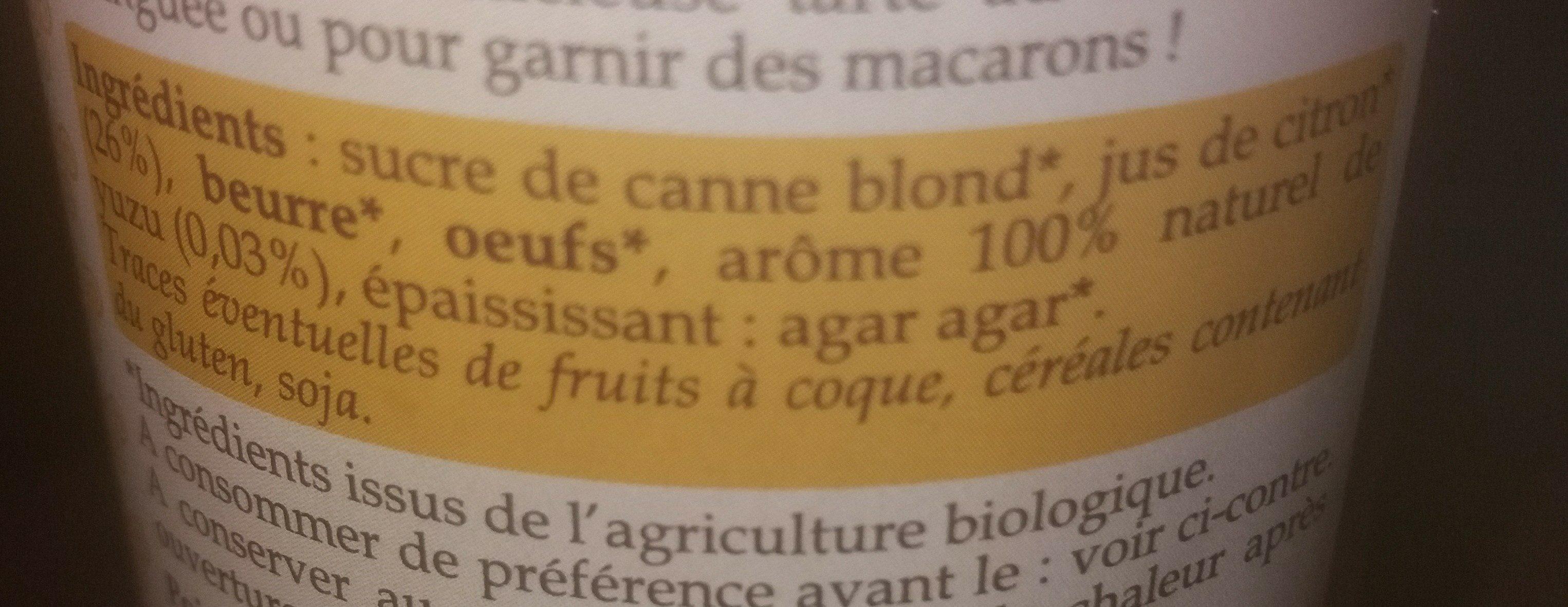 Crème de citron et Yuzu - Ingredients