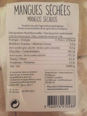 MANGUES SECHEES - Voedingswaarden
