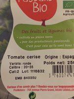 Tomate cerise biologique - Informations nutritionnelles