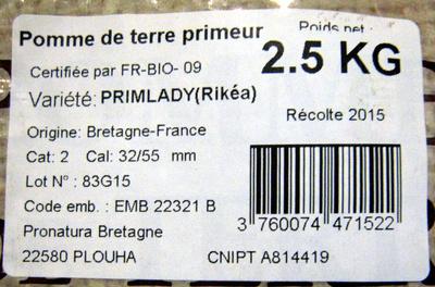 Pomme de terre primeur Récolte 2015 - Ingredients