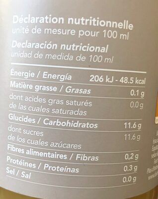 Jus d'ananas - Valori nutrizionali - fr