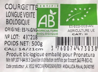 Courgette Biologique - Ingrediënten - fr