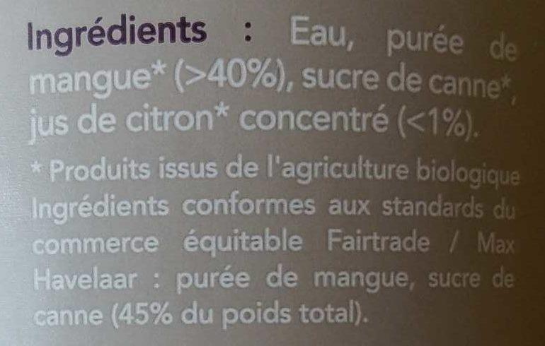 Nectar mangue - Ingredienti - fr