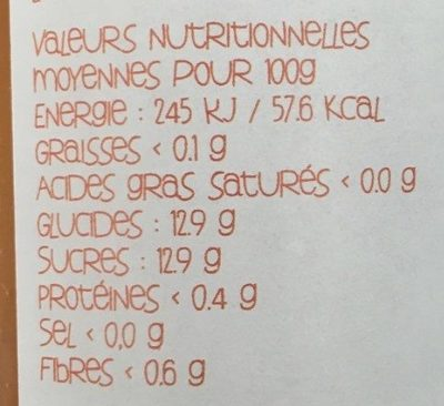 Abricot de Provence - Valori nutrizionali - fr