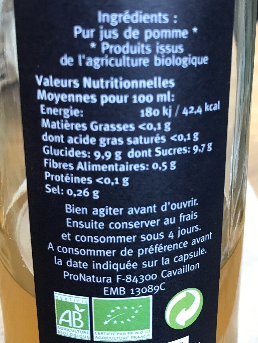 Pomme jus - Ingredienti - fr