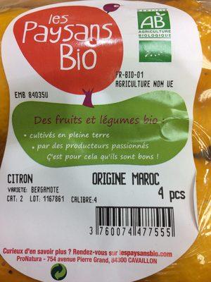 Citron bergamote - Ingrediënten - fr