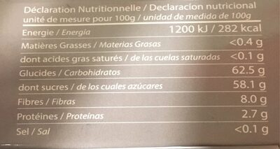 Dattes Deglet Nour D'Algerie - حقائق غذائية - fr