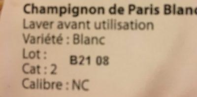 Champignons de Paris blanc pied coupé - Ingredients