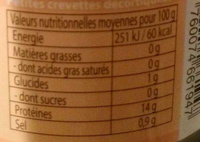 Crevettes Picnic - Nutrition facts - fr