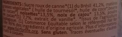 Pâte à tartiner sans lait Chocolinette - Ingrediënten - fr