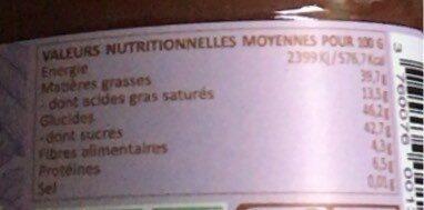 Pâte à tartiner sans lait Chocolinette - Voedingswaarden - fr