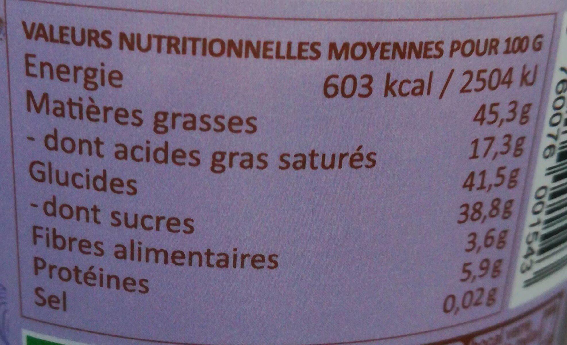 Choko linette (pâte à tartiner sans lait) - Informations nutritionnelles