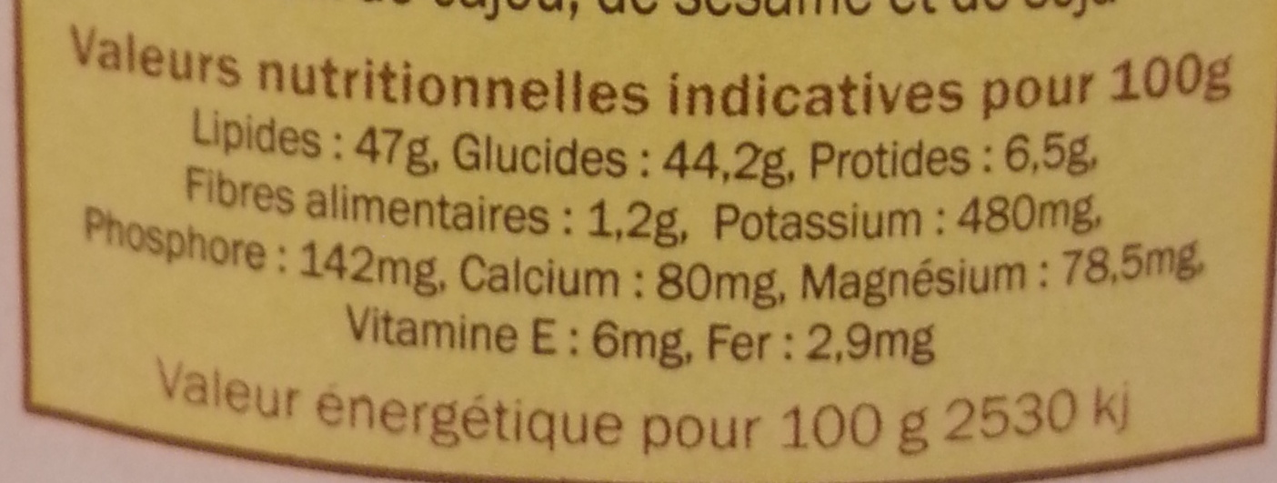 Chokénut - Valori nutrizionali - fr