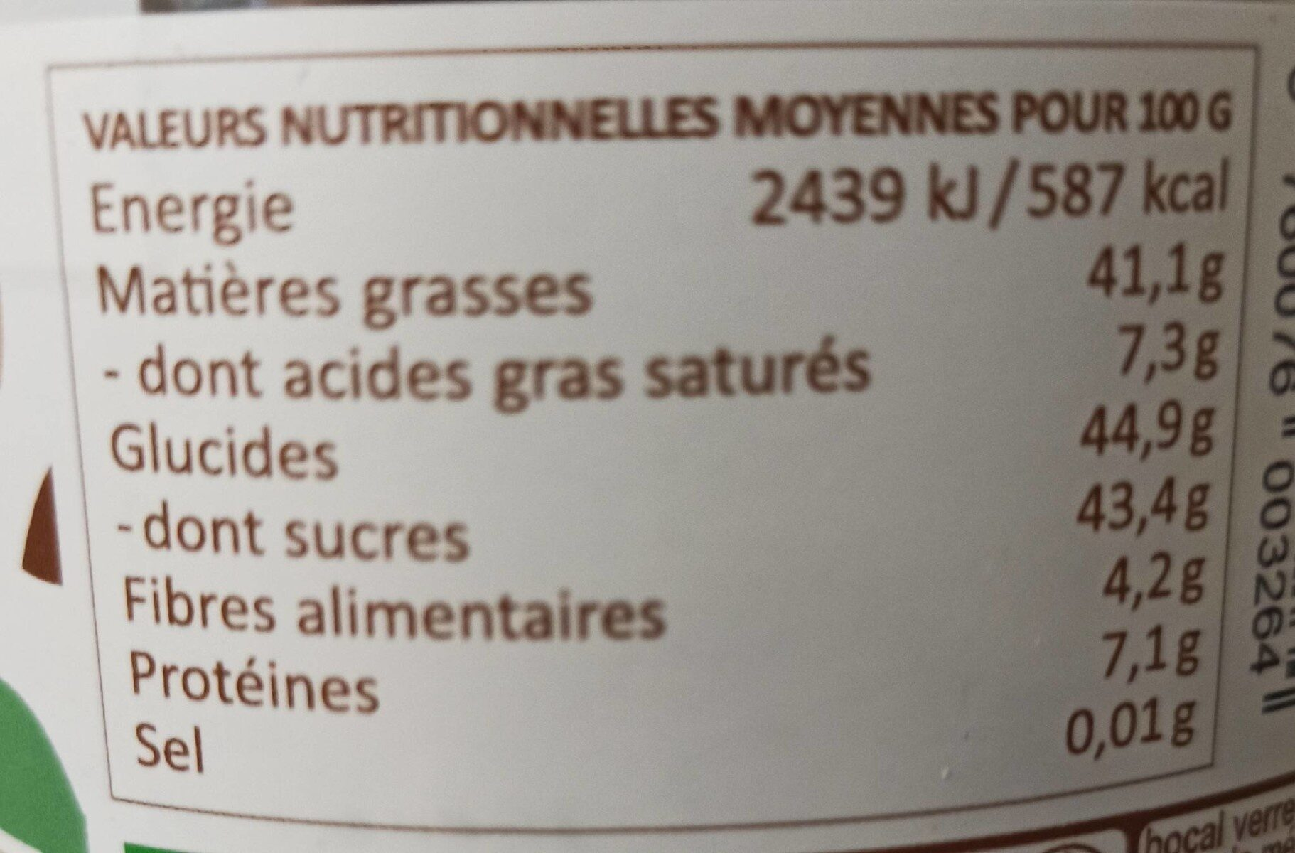 Choco noisette - Nutrition facts - fr