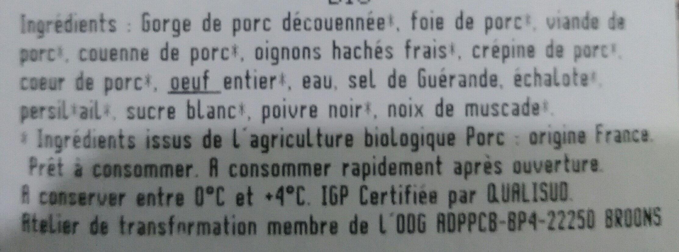 Pâté de campagne Breton IGP - Ingrédients