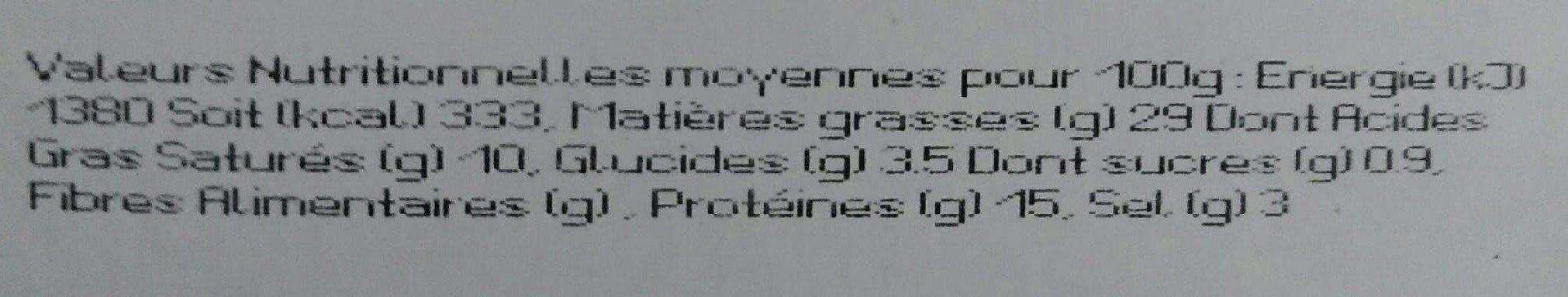 Pâté de campagne Breton IGP - Informations nutritionnelles