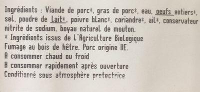 Saucisses de Francfort - Ingredients
