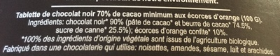 Chocolat 70 % écorces d'orange confites - Ingrediënten