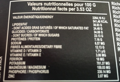 Chocolat 70 % écorces d'orange confites - Voedingswaarden