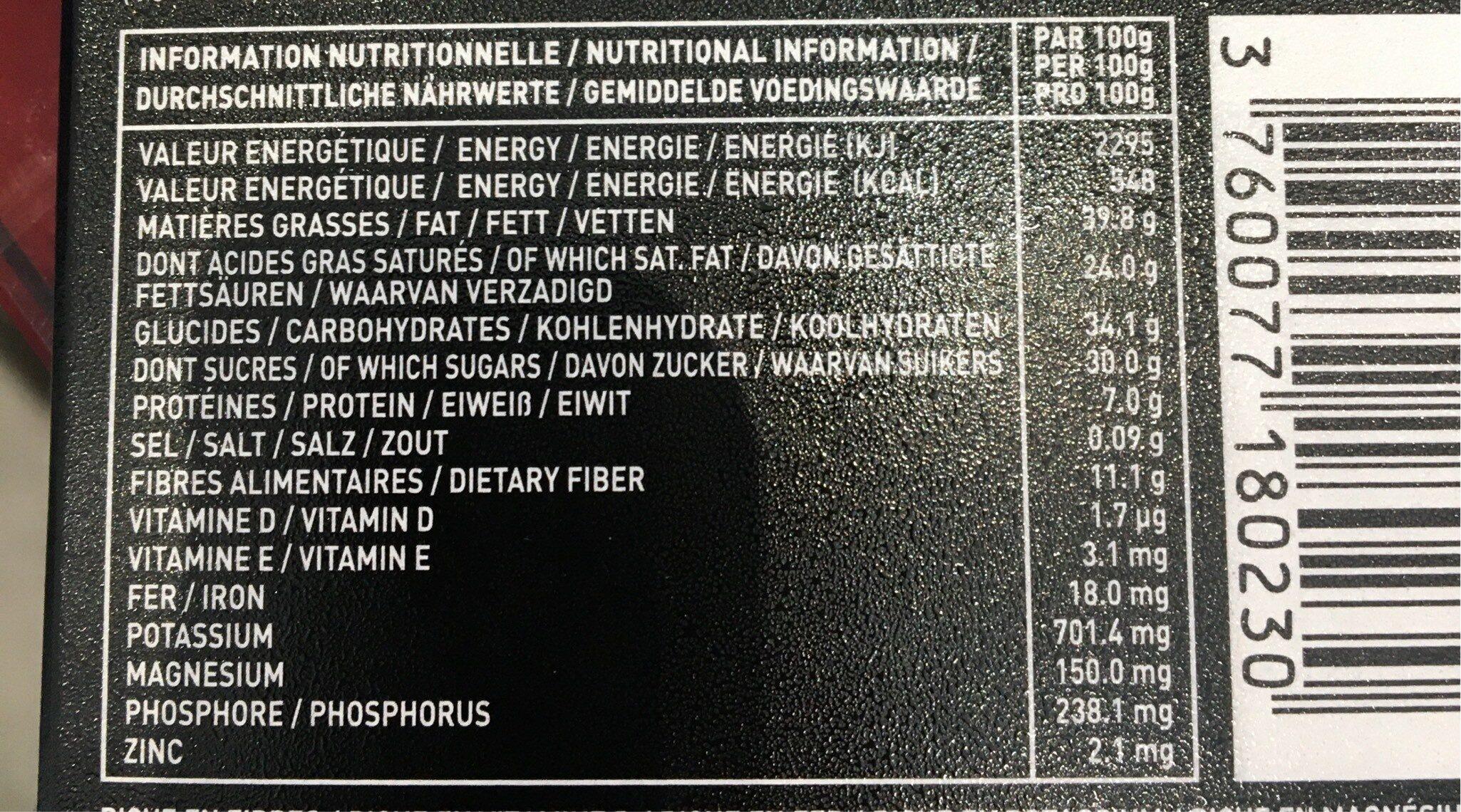 Chocolat 70 % écorces d'orange confites - Voedingswaarden - fr