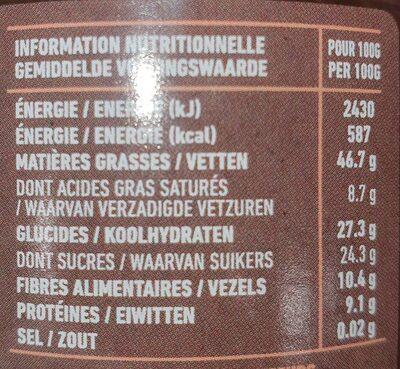 Pate a tartiner noisette Vegan - Valori nutrizionali - fr